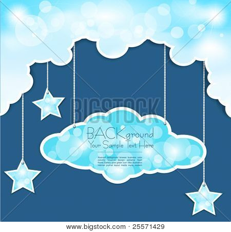 Vector blue background with clouds and the stars