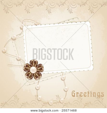 congratulation vector retro background with ribbons,pearls,bow