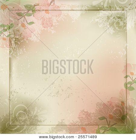 Grunge de Vector, fondo vintage con flores y un marco
