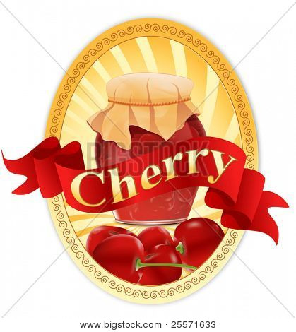vector label with a jar of cherry jam and a ribbon