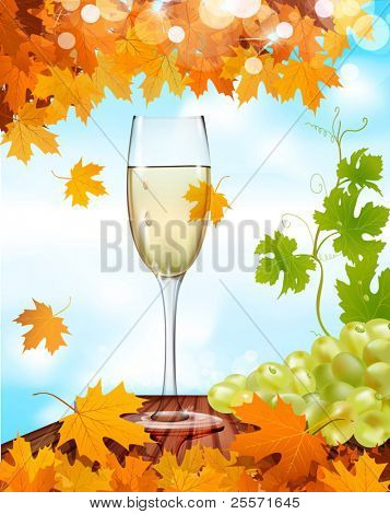 vector a glass of wine standing on a wooden table, and the grapes against the blue sky and autumn maple leaves