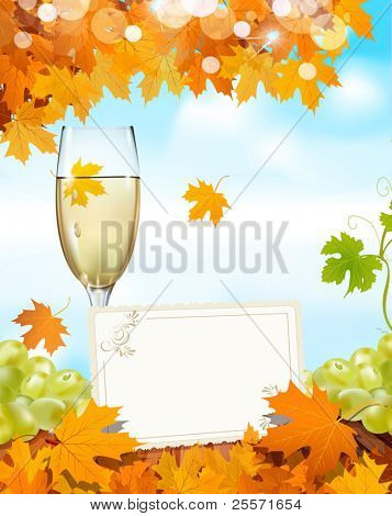vector grapes and a glass of wine standing on a wooden table with a greeting card, the blue sky and autumn maple leaves