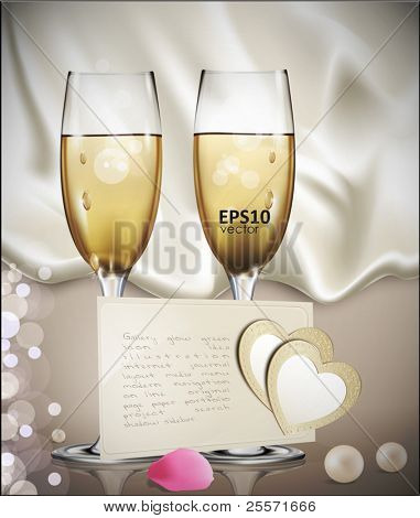 congratulatory vector background with a beige card with two glasses of white wine, rose petals, pearls, and two hearts
