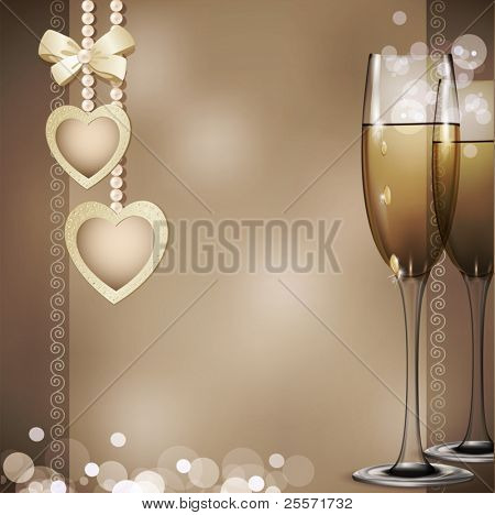 romantic congratulatory vector background with two glasses of white wine, pearls and two hearts