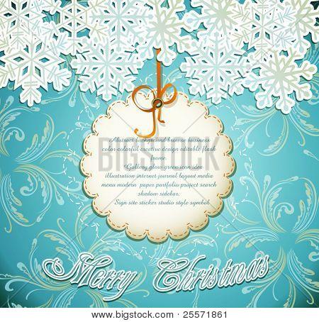 Vector fondo festiva esmeralda con copos de nieve