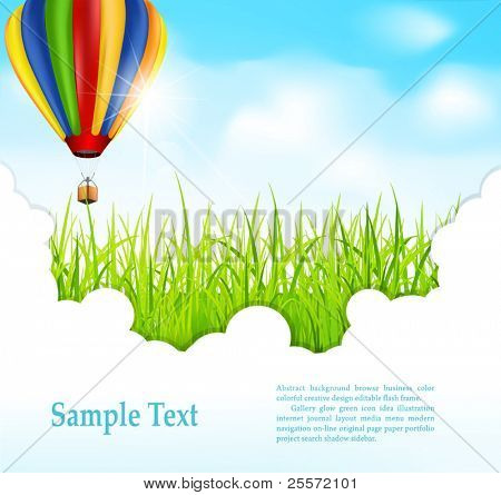 vector background with green grass and flying hot air balloon