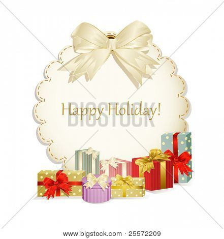 vector holiday background with colorful  gift boxes