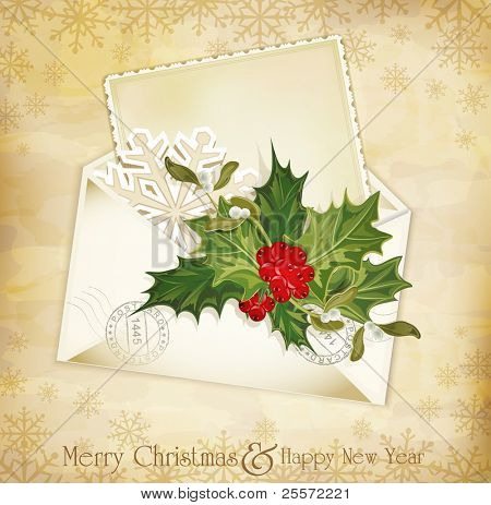vector vintage christmas background with sprig of European holly and envelope