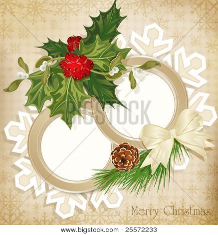 vector vintage retro christmas background with sprig of European holly and tree with cones