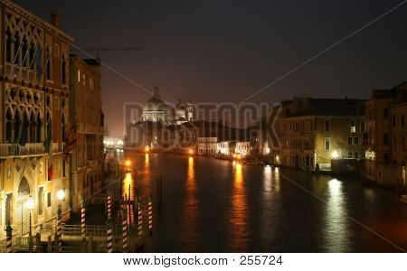 Venice Canal Grande By Night