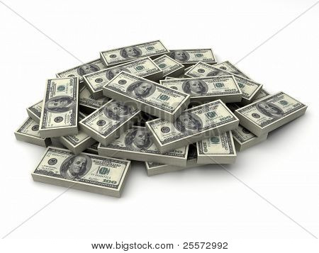 Millions dollars in a stack of $100 bills