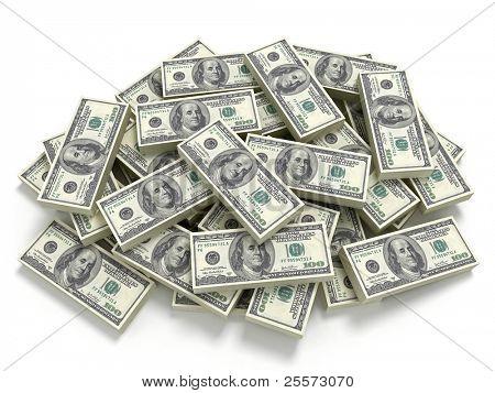 Big pile of the money. Dollars usa