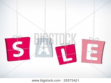 Set of gifts with Sale letters