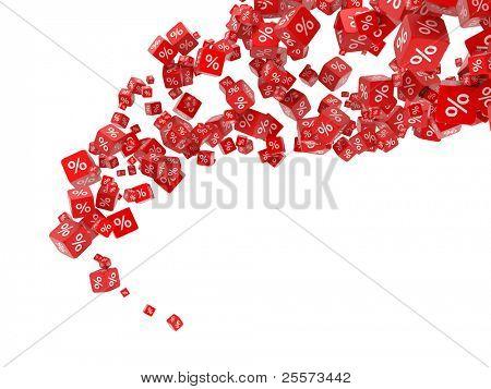 Cubos vermelhos caindo com por cento