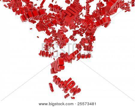 Caída roja cifra en porcentaje