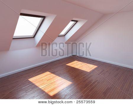 leere neue Zimmer mit Mansarde windows