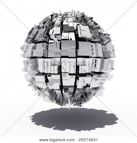 Metal sphere with abstract geometric shapes