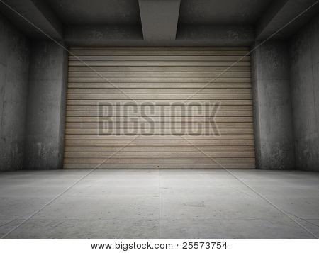 Empty garage with metallic roll up door