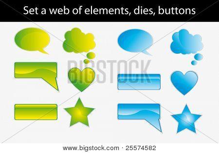 set a web of elements, dies, buttons