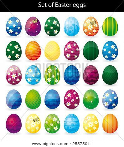 30 Easter eggs, vector illustration