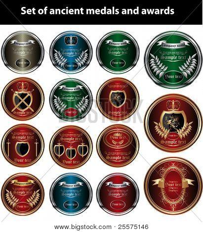 Vector. Vintage set of medals