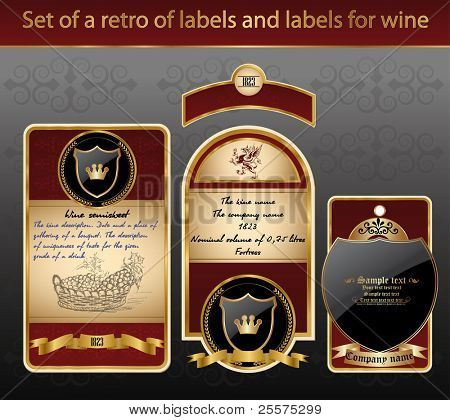 Set of a retro of labels and labels for wine