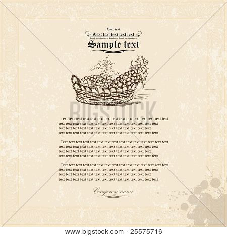 Old grunge paper with floral elements. Vector