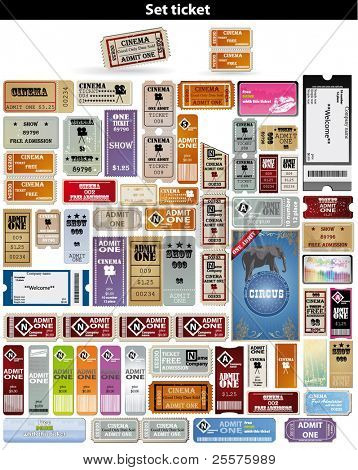 big set: tickets in different styles. Vector.