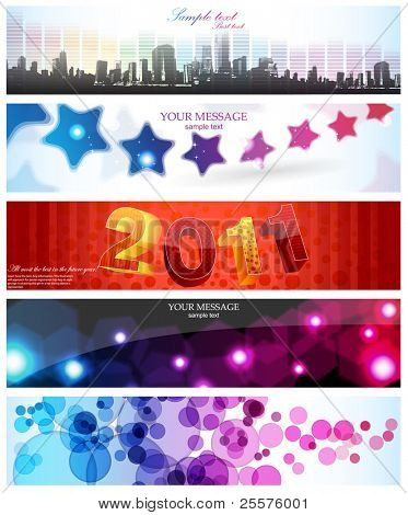 Banners, headers glossy set, vector.