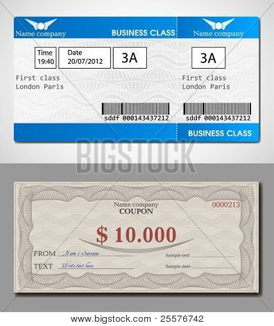 Illustration tickets and coupon with watermarks