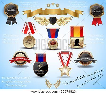 big set medals and award. vector 10 eps