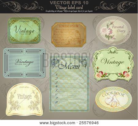 background set: vintage labels - inspired by antique originals. vector
