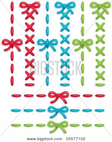 Set of colorful vector stitches and bows