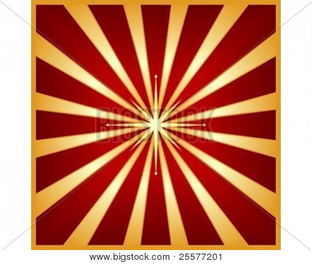 Square star burst in shades of red and gold with a glowing centre star. Use of blends, linear gradients and global colors.