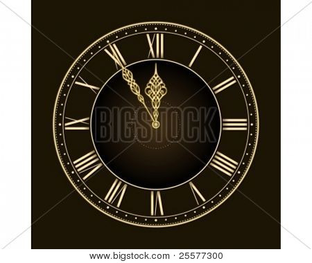 Happy new year... or time's nearly up! Stylish and elegant vector clock with the hands at five to twelve. Global colors, linear gradient, blends.