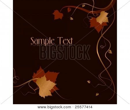 Square dark abstract background with red golden autumn leaves and swirls at the bottom and the right hand side and space for your text. Use of blends, linear gradients, global colors.