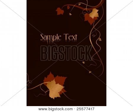 Vertical dark abstract background with red golden autumn leaves and swirls at the bottom and the right hand side and space for your text. Use of blends, linear gradients, global colors.
