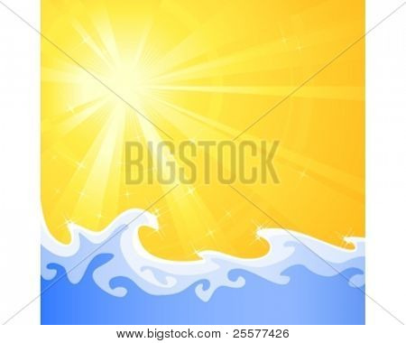 Asymmetric sunny light burst with cool  relaxing water waves. Use of radial and linear gradients, global colors. Artwork neatly grouped and layered.