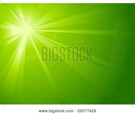Asymmetric green light burst with the centre in the upper left third. All rays controlled by on linear gradient. Radial gradient for background, outer ring. Artwork grouped and layered. Global colors.