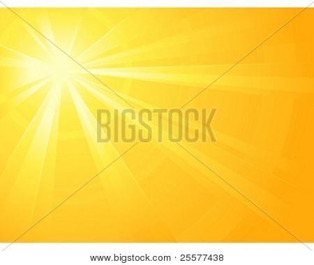 Asymmetric yellow orange light burst with the centre in the upper left third. All rays controlled by two linear gradient. Radial gradient for background, outer ring. Grouped, layered & global colors.