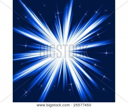 Light, star burst; stylized fireworks from white to dark blue with little stars. Burst controlled by one linear gradient. Use of 8 global colors.