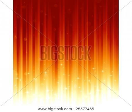 Red golden festive background with stars and bokeh effect. Stripes controlled by 2 linear gradients. Some light dots with linear gradients. Use of global colors. Can be tiled vertically to custom size