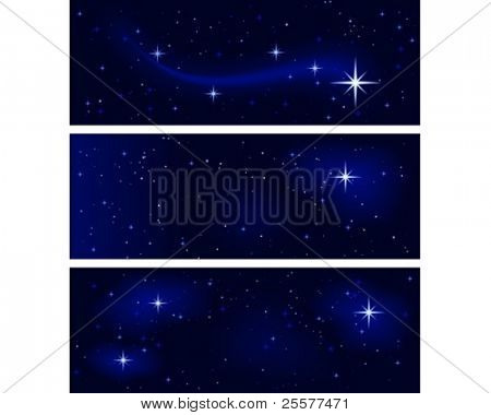 3 banners with different star constellations. Peaceful, tranquil and silent. Use of 10 global colors, blends.