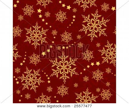 Red golden snowflakes, winter texture that will tile seamlessly. 3 global colors, artwork grouped nd layered.