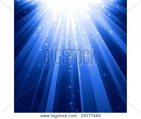 Festive blue square abstract background with stars descending on rays of light. 7 global colors, background controlled by 1 linear gradient.