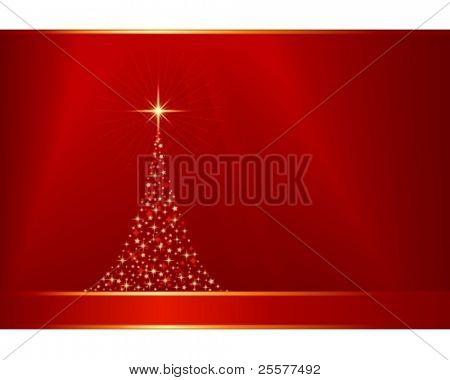 Horizontal red golden Christmas background with a Christmas tree made of stars. 12 global colors, linear gradients, clipping mask, blend. Artwork grouped and layered.