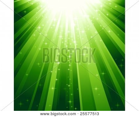 Festive square abstract background with stars descending on rays of green light. 7 global colors, background controlled by 1 linear gradient.