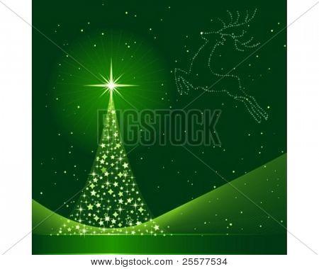 Cuadrado de fondo verde para Navidad mostrando un árbol de Navidad hecho de estrellas y la silueta de un
