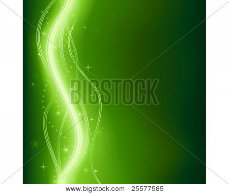 Abstract dark green wavy fantasy background with glowing lines and stars. Use of 9 global colors, linear gradients, blends and clipping mask.