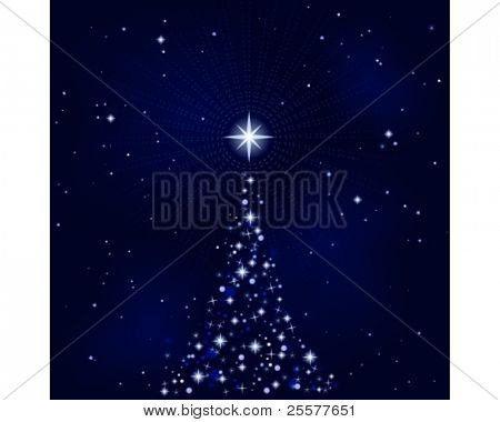 Abstract Christmas background with Christmas tree, peaceful, tranquil and silent. Use of 10 global colors, blends. Artwork grouped and layered.